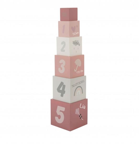 Stapelturm Zahlen aus Holz Rosa