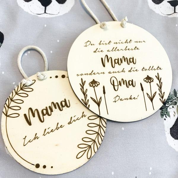 """Muttertag Holzschild Mama """"Ich liebe dich"""""""