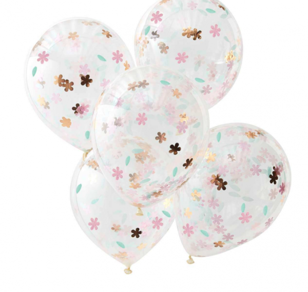 Transparente Ballons mit Blumen-Konfetti