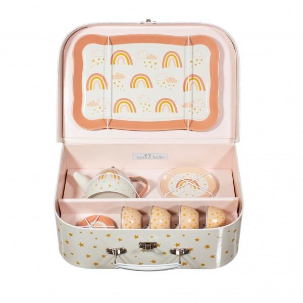 Picknick / Teeset im Koffer Regenbogen