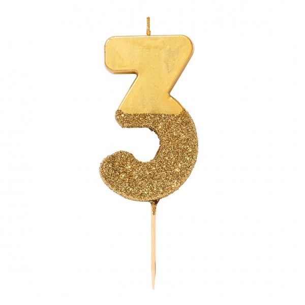 Geburtstagskerze 3 gold