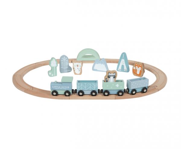 Holzeisenbahn mit Zubehör Blau/Rosa