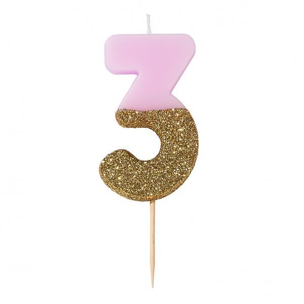 Geburtstagskerze 3 pink
