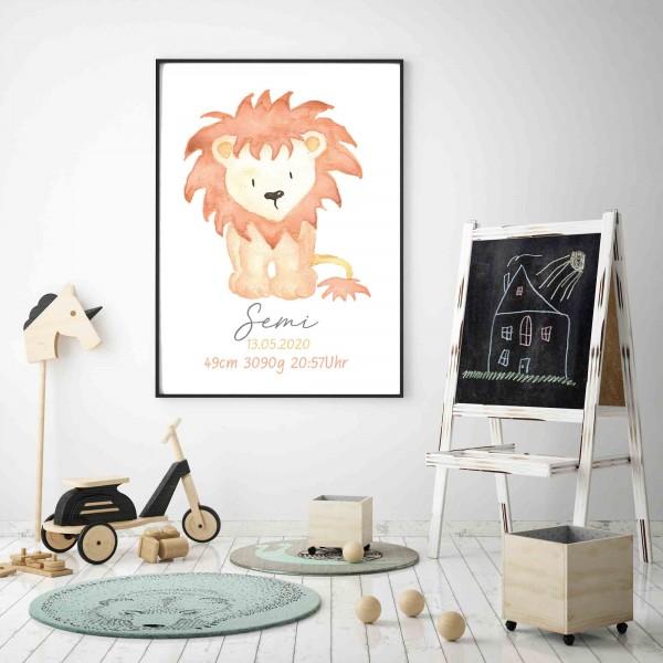 Geburtsdatenposter Löwe