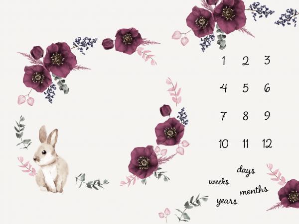 Meilensteindecke Blüten/Hasen