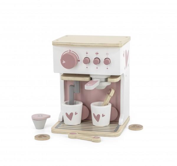 Kaffeemaschine aus Holz rosa / personalisierbar