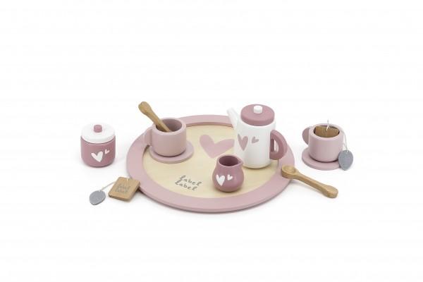 Teeset aus Holz rosa