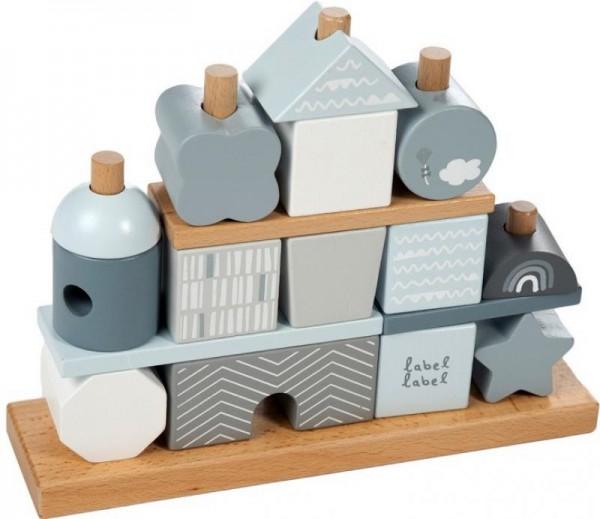 Steckspiel Haus Blau (personalisierbar)