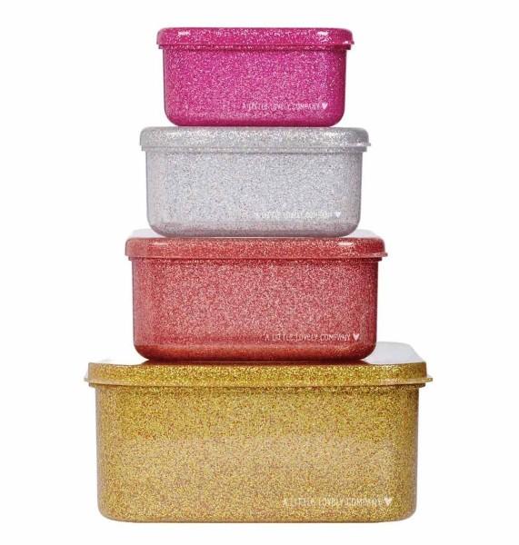 Brot- und Snackdosen Set: gold blush glitter