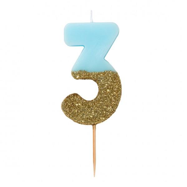 Geburtstagskerze 3 blau