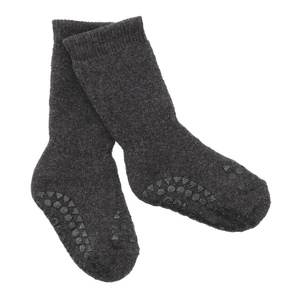 """Antirutsch- Socken """"dark grey melange"""" 6-12m"""