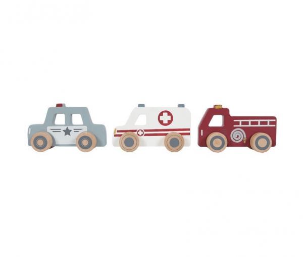 Einsatzfahrzeuge Holzauto-Set
