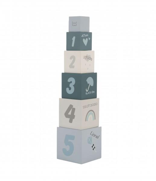 Stapelturm Zahlen aus Holz Blau