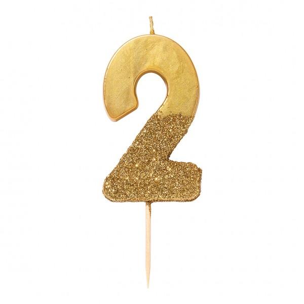 Geburtstagskerze 2 gold